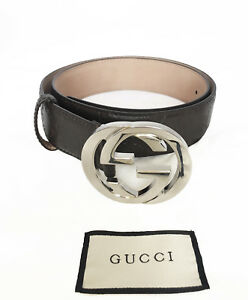 f947b28e68a GUCCI Men s GG Logo Leather Belt Brown Color 411924 CWC1N Size 90-36 ...