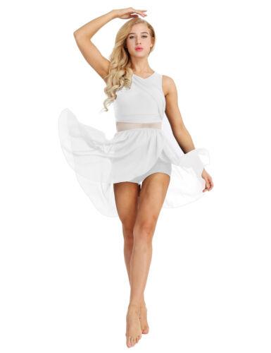 Damen Elegant Tanzkleid Chiffonkleid Knielang Ballettanzug mit Asymmetrisch Rock