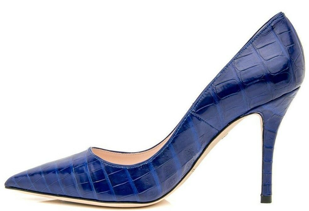 Neu Nancy Gonzalez Stechpalmen 90 Pumps Krokodil Blau Alligator Schuhe 40.5