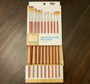 Hand Made Modern Watercolor Brushes 9ct Red