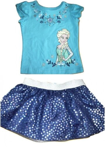 5 Filles Disney Frozen Elsa Haut /& Tutu Jupe Short Set Âge 2 6 ans bleu 3