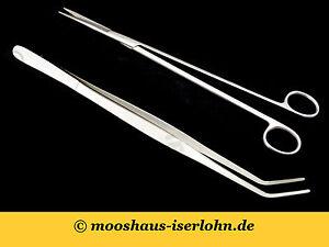 Nano-Aquascaping-Tools-Set-2-teilig-Edelstahl-Schere-gerade-Pinzette-gebogen