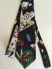Gambler Gamer Playboy Billiards Card Dice Darts Pool Poker Chips Cue Neck Tie