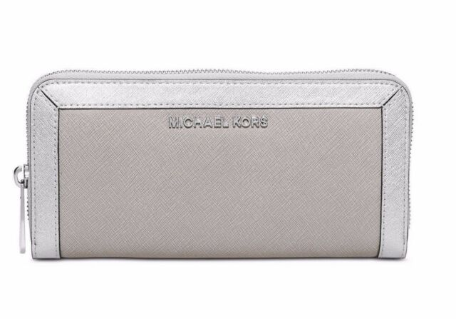 29f052270e2bd7 Michael Kors Jet Set Saffiano Leather Frame Out Continental Wallet Pearl  Grey