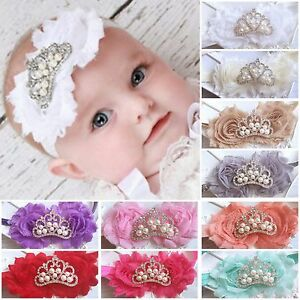 Baby Girl Headband Hairband Tiara Crown Rhinestone Pearls Christening