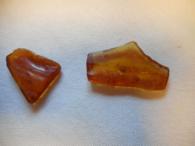 Two Vintage  pieces of honey amber almost flat, 6.7 g