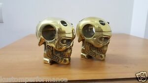 CUSTOM-CHOPPER-BOBBER-BRASS-CAST-SKULL-HANDLEBAR-RISERS-HARLEY-OLD-SCHOOL-XS