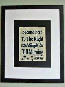 Second Star To The Right Peter Pan Quote On Upcycled Vintage