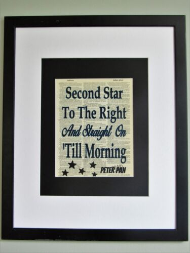 Second Star To The Right Peter Pan Quote On Upcycled Vintage Dictionary Page