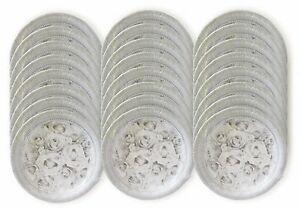 """White Wedding Rose 8 3/4"""" Paper Plate Party Events Tableware Case of 432 Plates"""
