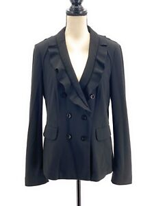 White House Black Market Womens Ruffled Blazer Black 12 Double Breasted Stretch