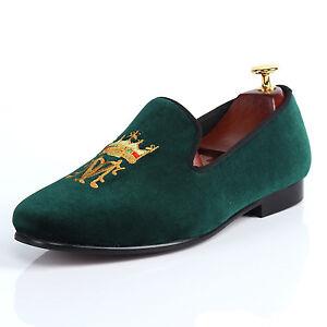 Harpelunde Monogram Men Dress Shoes Green Velvet Loafer Slippers