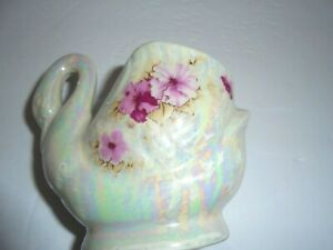 Iridescent white w pink glass Swan Figurine, Vintage planter