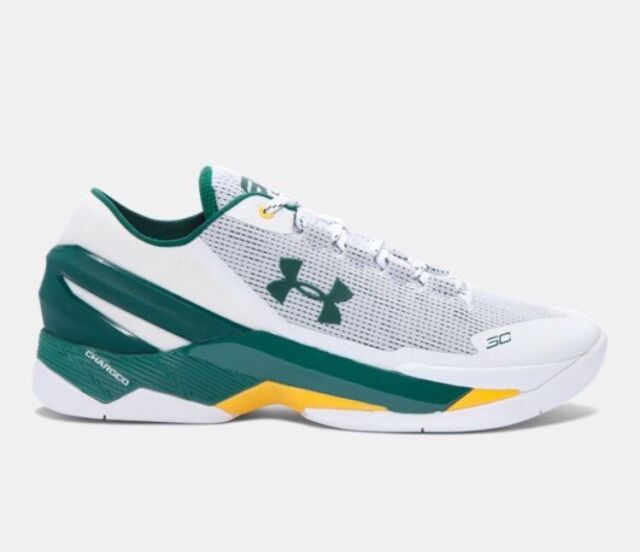 f1cecd6f72a0e Under Armour Curry 2 Low OAKLAND A's Athletics Men's 9.5 White Green Gold  Yellow