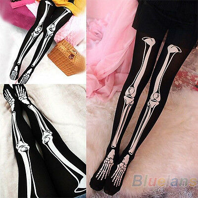 Womens Fine Hot Skeleton Tattoo Socks Pantyhose Stockings Tights Hot SellingB84U