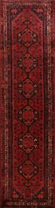 Vintage-Geometric-Tribal-Abadeh-Red-Wool-10-ft-Runner-Rug-Hand-knotted-3x10-ft