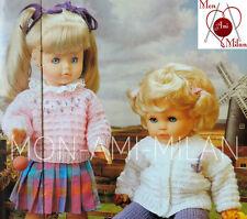 "VINTAGE Knitting Pattern Copy DOLLS CLOTHES PREM BABY CARDIGAN SWEATER 16-24"" DK"