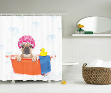 Cute Dog in Bathroom with Rubber Duck Having Bath Art Print Kids Shower Curtain
