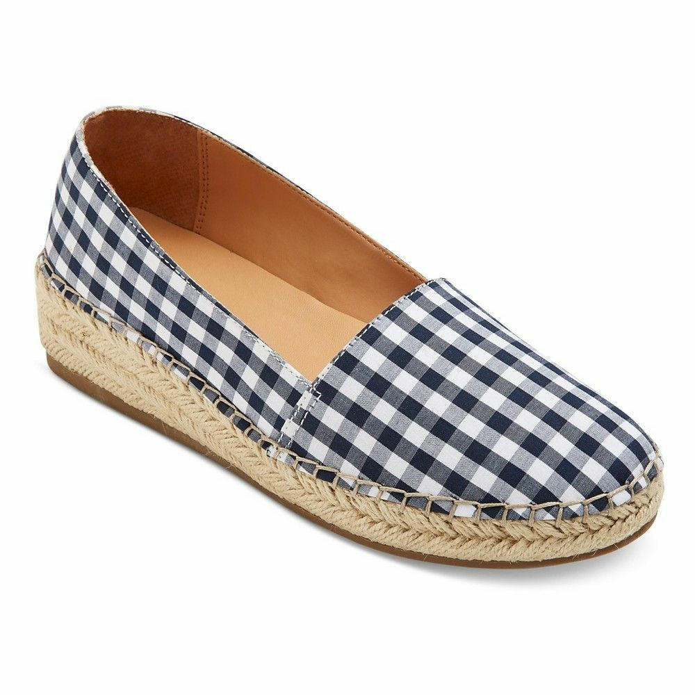 Merona Sonya Ballet Flats Wedge Espadrille shoes bluee Gingham Plaid Pattern New