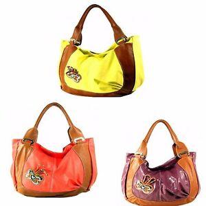 NWT-Leather-Butterfly-Tote-Handbag-Yellow-Shrimp-Purple