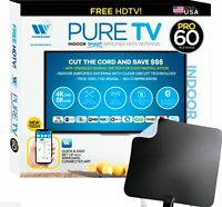 Winegard PureTV Pro 60 Indoor Smart Amplified HDTV Antenna + Integrated Channel Finder - Black and White