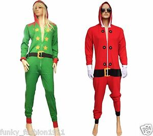 Christmas Jumpsuit Womens.Details About Womens Mens Unisex Red Santa Green Elf Christmas Jumpsuit Xmas Novelty Costume