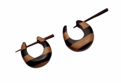 Une paire de bois naturel Noix de Coco Rond Cerceau Hippie Stick Fashion en bois boucles d/'oreilles