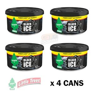 Little Trees Black Ice Car Air Freshener Can (4 Pack) Office Truck Winnebago