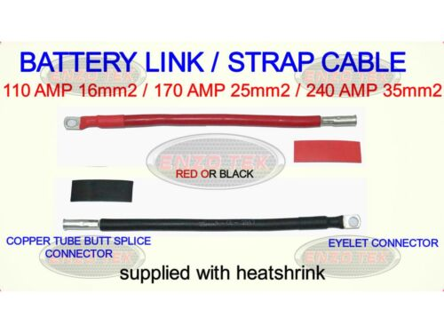 BATTERY LEAD CABLE WITH COPPER TUBE BUTT CONNECTOR CAR VAN HGV BOAT MARINE WIRE
