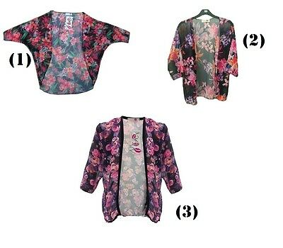 GIRLS KIDS BRIGHT SUMMER KIMONO BLAZER CARDIGAN PINK BLACK AGE 7 8 9 10 11 12 13