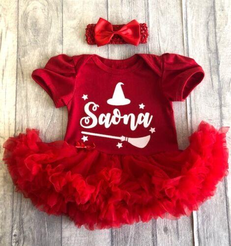 Baby Girl Fancy Dress Hat Broom Stars PERSONALISED HALLOWEEN WITCH TUTU ROMPER