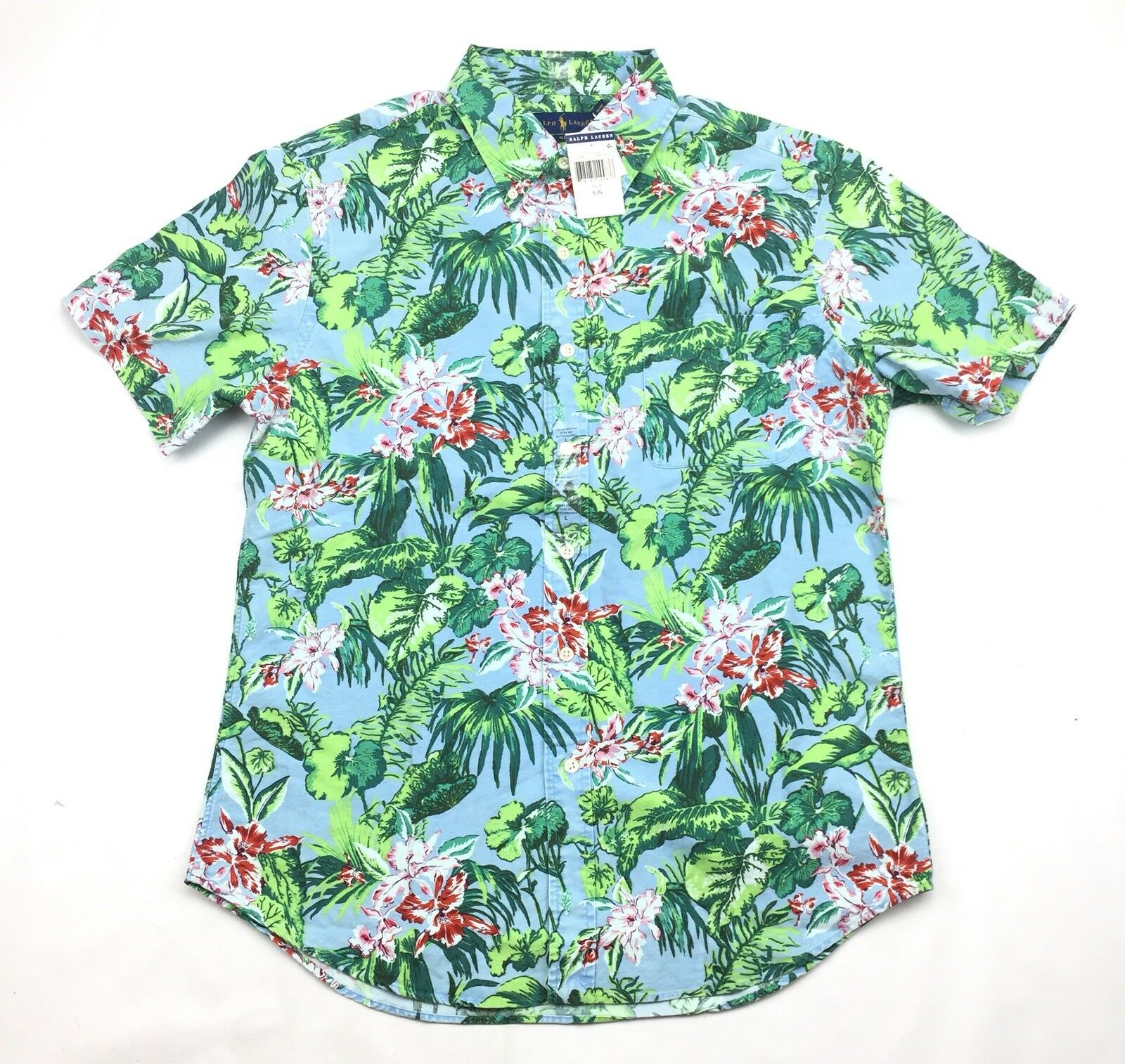 Ralph Lauren Polo Mens Short Sleeve Tropical Floral Slim Fit Oxford Shirt NWT