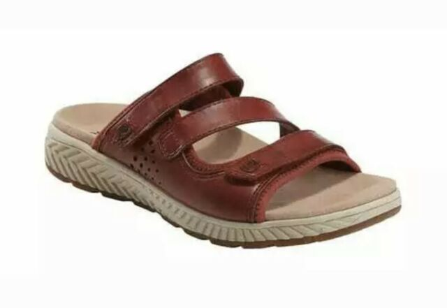 Earth Slide Sandal Size 9 Red Leather Bordeaux Mira Loures Open Back Comfort