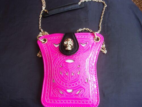 Designer Inspired Skull Rivet Tassel Chain Candy Colour Mini Cross body Bag..