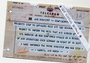 W-Co-GUY-GIBSON-COPY-OF-TELEGRAM-INFORMOING-OF-HIS-FATAL-CRASH-DAMBUSTERS