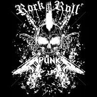 Rock & Roll Punk Music Guitars Skull White Ink Tattoo T-Shirt Tee