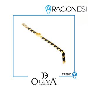 ARAGONESI BRACCIALE ACCIAIO black 316L PVD gold yellow COLLEZIONE TREND BR1817