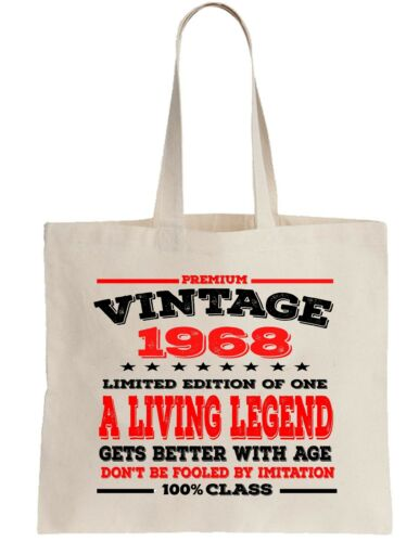 50th Birthday Gift Tote Shopper Shopping Bag year can be amended 1968 Present