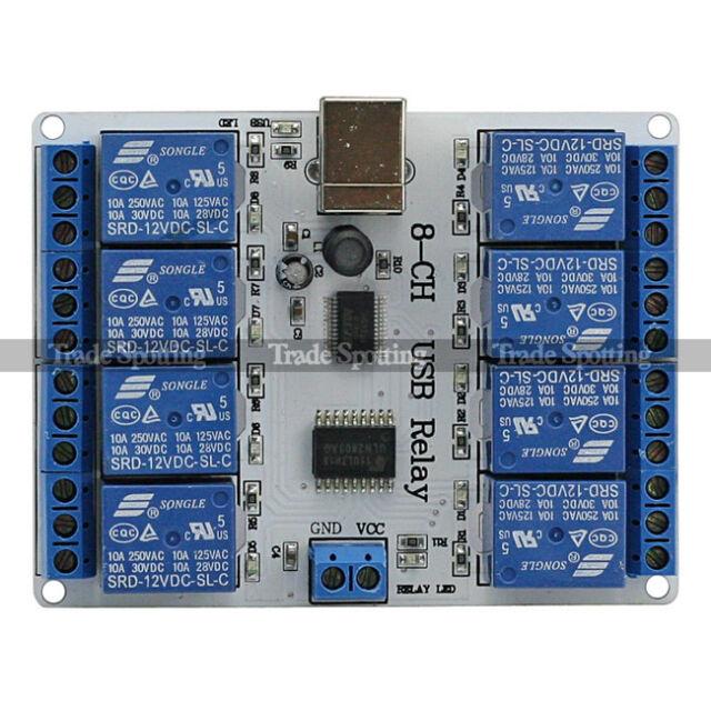 SainSmart 8-ch 12 V USB Relay Board Module Controller for Arduino AVR US Stock