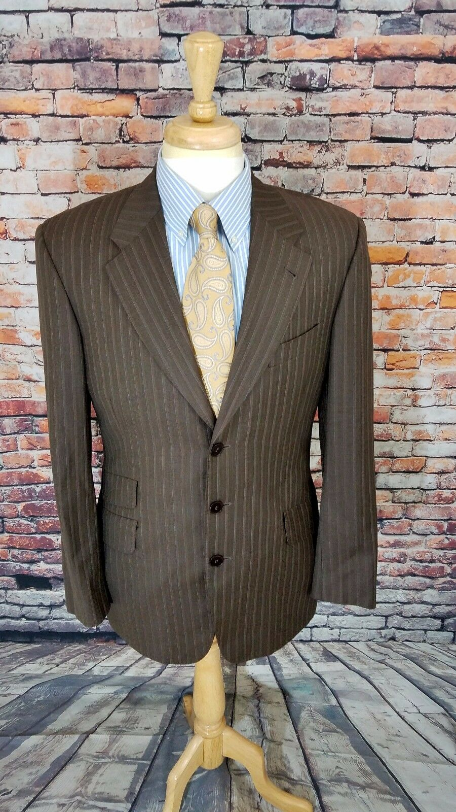 1070 Paul Smith London Abbey Road 40R 3 Button Braun Stripe Sport Coat Blazer