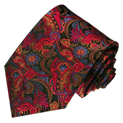 36028 LORENZO CANA - Italian Tradition Red Blue Floral 100% Silk Neck Tie New