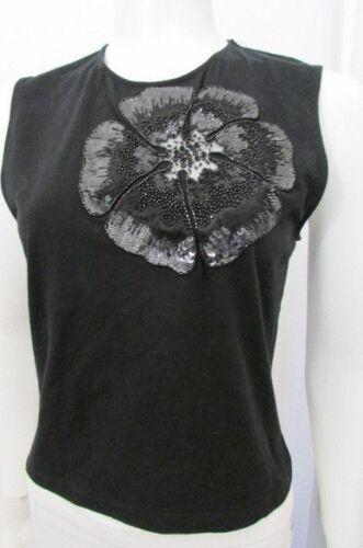 Coupe Noir Valentino Femme Habillé Débardeur Lacets Grande Mode Fleur Paillettes x54a04rqw