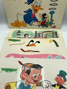 6 Vintage Disney Placemats Disneyana Tinkerbell Pluto Mickey Minnie Snow White