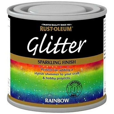 Rust-Oleum Rainbow Glitter Hobby Craft Brush Paint Sparkling Finish - 125ml