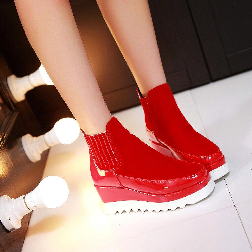 Stiefeletten Stiefeletten Stiefeletten sportschuhe frau reißverschluss schwarz rot simil leder komfortabel 4d6b35