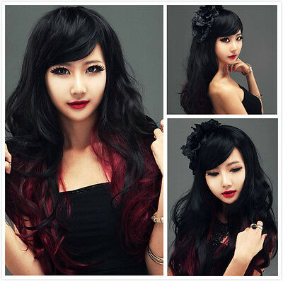 Fashion Lolita Red/Black Hair Long Curly Wavy Cosplay Costume Wig Xmas Wigs+Cap
