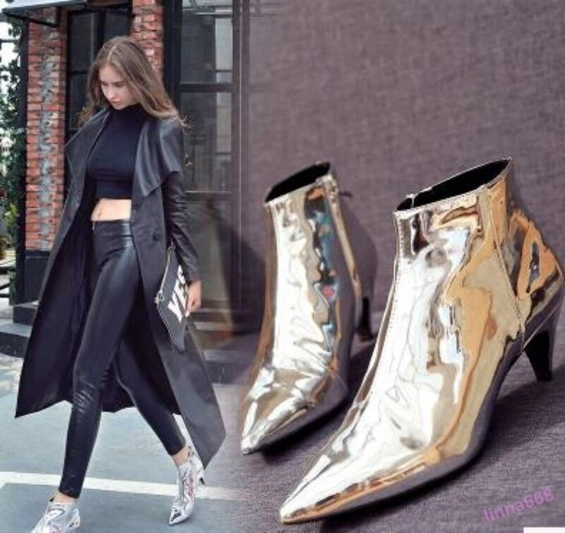 Women Ankle Boots Pointy Toe Metal Shiny Decor Mid Bling Leather shoes hkm15