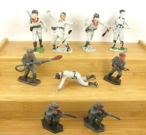Lone Star Harvey and Cherilea Plastic Toy Soldiers 9 Various WW2 German Infantry