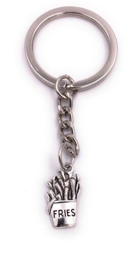 Pommes Fries anders Schlüsselanhänger Anhänger Silber aus Metall