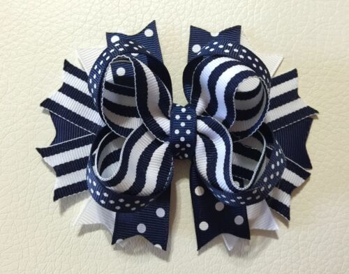 Handmade Back To School White And Navy Stacked Boutique Hair Bows